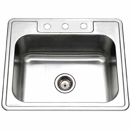 Houzer 2522-9BS3-1 Glowtone Series Topmount Stainless Steel Single Bowl Kitchen Sink