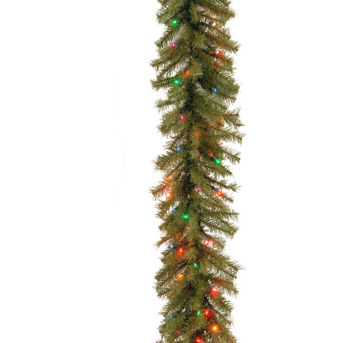 "National Tree 9' x 10"" Norwood Fir Garland with 50 Battery Operated Multi 4-Color LED Lights"