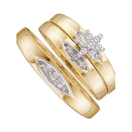 10kt Yellow Gold His & Hers Round Diamond Cluster Matching Bridal Wedding Ring Band Set 1/12 Cttw - image 1 of 1