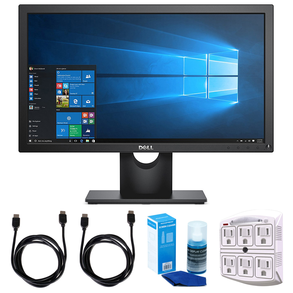"""Dell (E2016HV) VESA Mountable 20"""" Screen 1600x900 LED-Lit Monitor - Black w/ Accessories Bundle Includes, 2x HDMI Cable, SurgePro 6-Outlet Surge Adapter w/ Night Light & Screen Cleaner For LED TVs"""