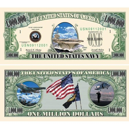 "50 US Navy Million Dollar Bills with Bonus ""Thanks a Million"" Gift Card Set Dollar Bills Money Currency"
