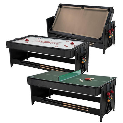Fat Cat Pockey 7' Black 3-in-1 Air Hockey, Billiards with Tan Felt, and Table Tennis Table