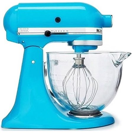 Kitchenaid Artisan Series 5 Quart Tilt Head Stand Mixer Crystal Blue With Glass Bowl Ksm105gbccl Closeout
