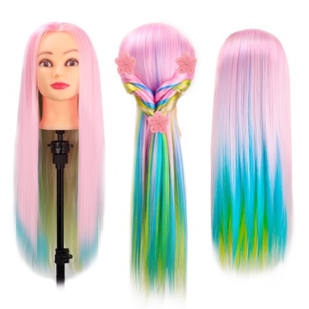 Mannequin Manikin Head for Hairdressing Practicing PP material, high temperature silk for Hairdressing Beauty Hair Training Head Cosmetology Mannequin Heads for Cosmetology Training Head Multi-Color - Halloween Mannequin Head