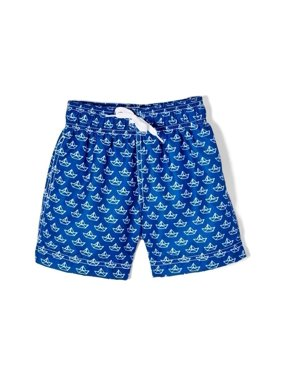 Azul Baby Boys Navy Paper Boat Allover Print Drawstring Swim Shorts
