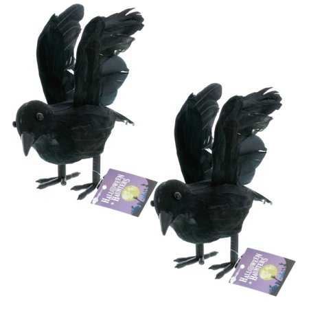 halloween haunters black flying crows pack of 2 set of 2 realistic looking