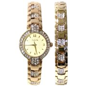 Elgin Ladies Round Case Pave Analog watch set