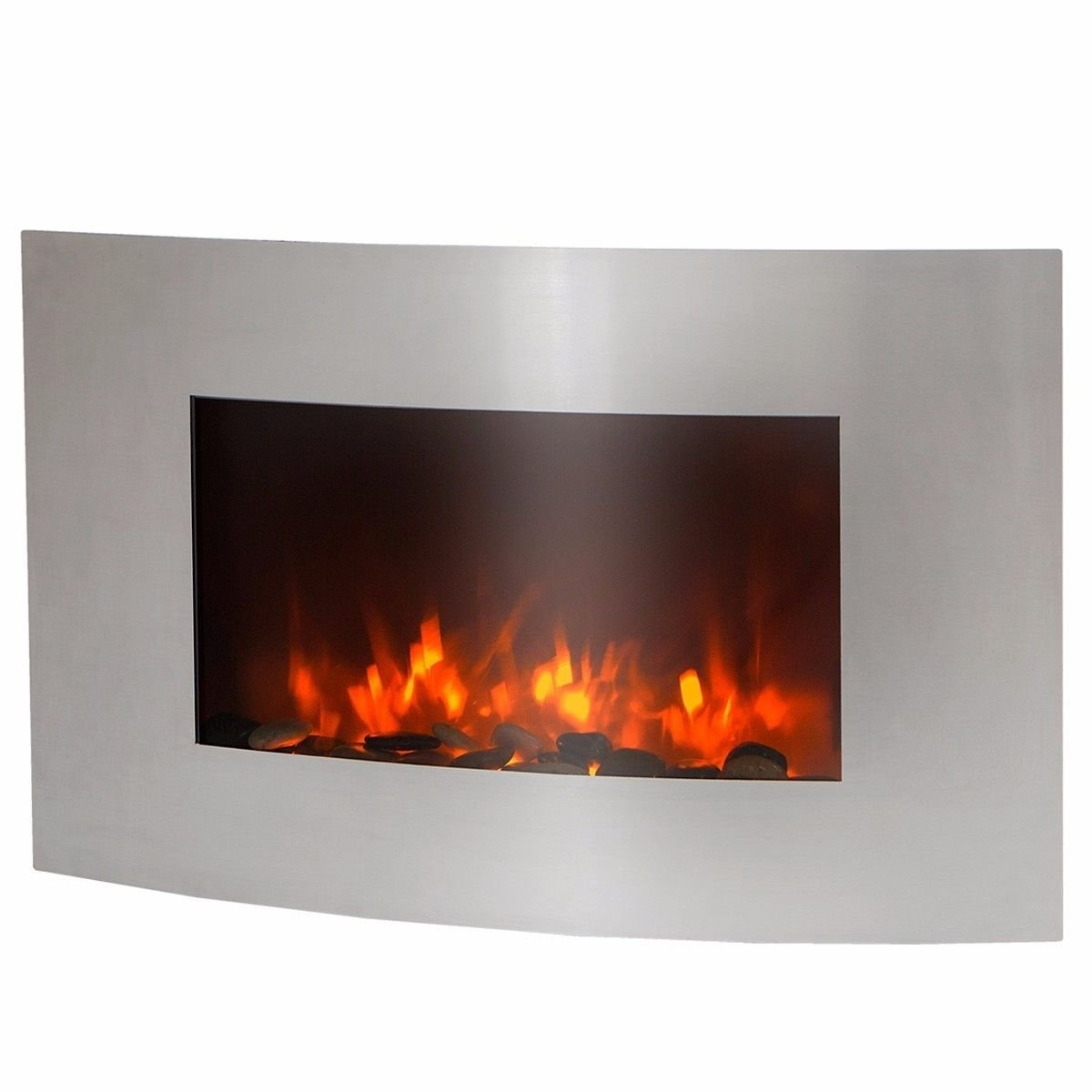 """New MTN-G 35"""" Large 1500 watt stainless Electric Wall Mount Fireplace Heater w/Remote"""
