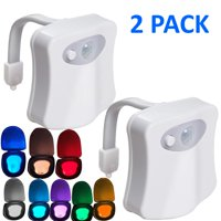 Glow Bowl Toilet Light, 2PACK Toilet Night Light Motion Activated 8 Color Changing Led Toilet Seat Light Motion Sensor Toilet Bowl Light, I2449