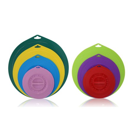 Elite Cuisine ECL-7268 Round Silicone Suction Lids, Set of 7