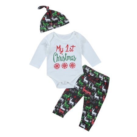 3Pcs Cute Baby Girl Boy Long Sleeve 1st Christmas Bodysuit and Deer Pants Outfit with Hat Xmas - Diy Cute Outfits
