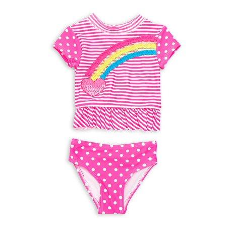 Baby Girl's 2-Piece Rainbow Striped and Dotted Rash (Splendid Striped Onesie)
