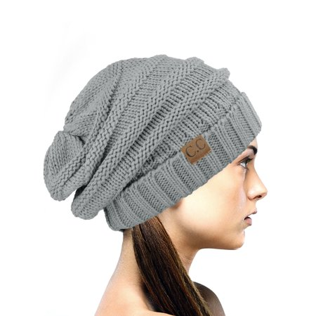 NYfashion101 Exclusive Oversized Baggy Slouchy Thick Winter Beanie Hat - Natural Gray - Red White And Blue Cowboy Hat