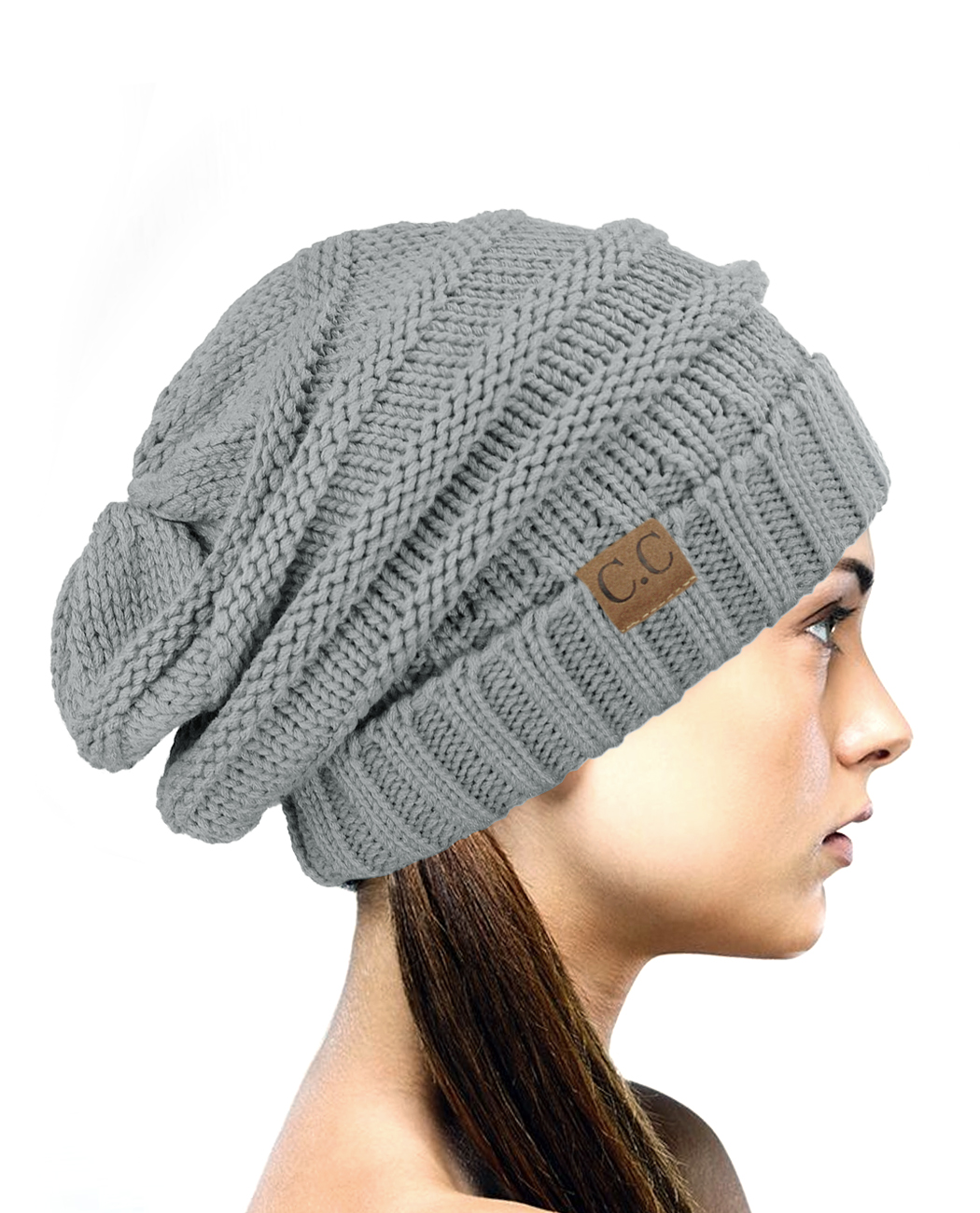 NYfashion101 Exclusive Oversized Baggy Slouchy Thick Winter Beanie Hat - Natural Gray