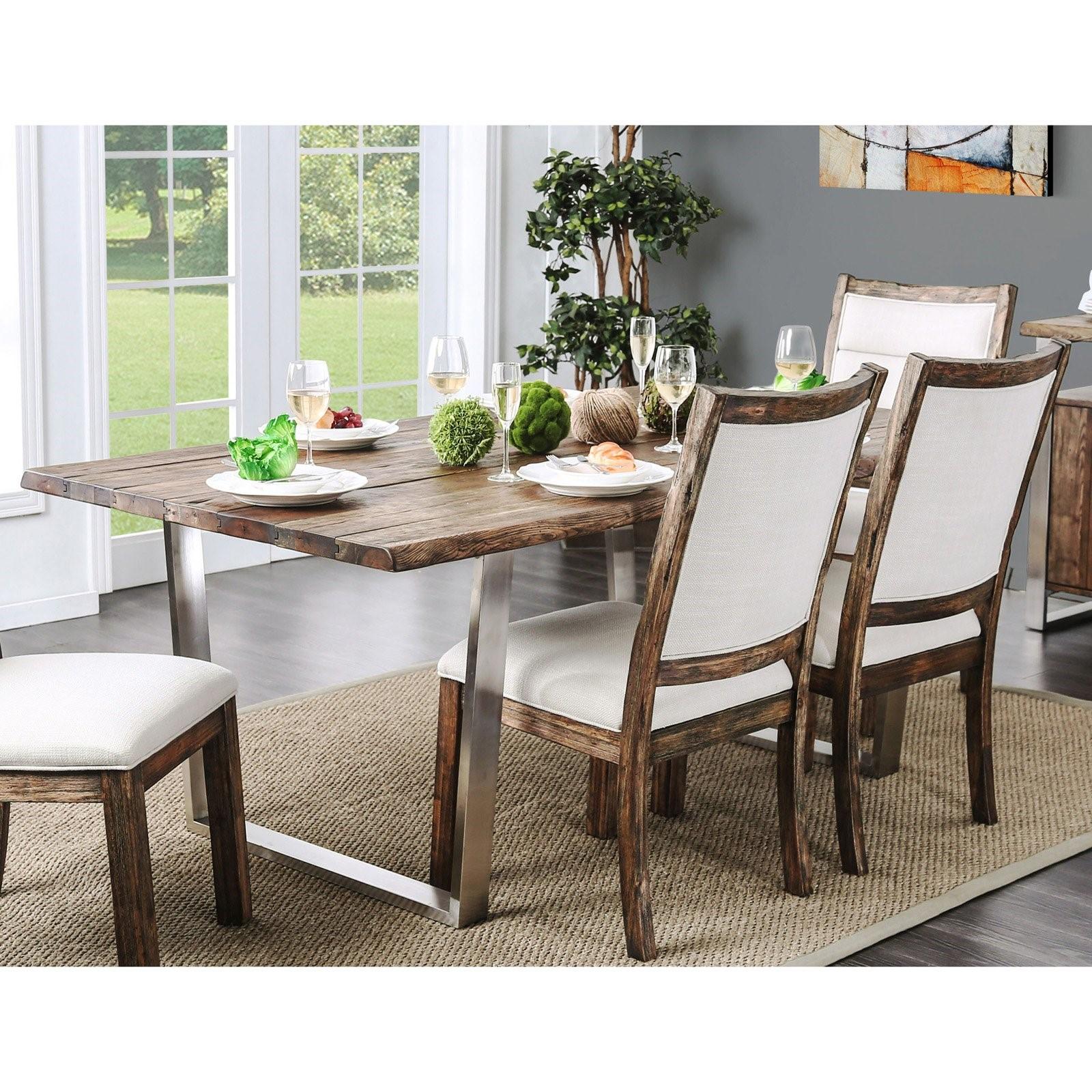 Furniture of America Kadin Rustic Industrial Dining Table