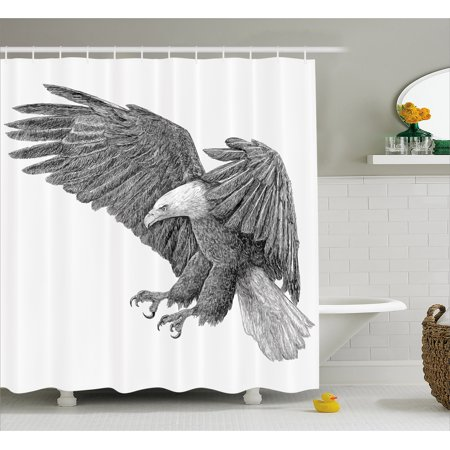 Shower Pencils - Eagle Shower Curtain, Black and White Pencil Drawing Style Eagle with Detailed Features Wild Nature, Fabric Bathroom Set with Hooks, 69W X 75L Inches Long, Black Grey White, by Ambesonne