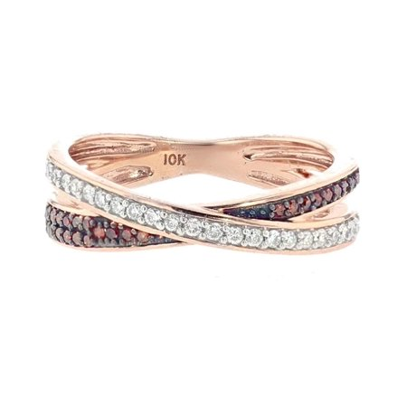 Criss Cross Anniversary Ring Diamonds and Rose Gold 10K 1/4ctw Womens Band Style Ring