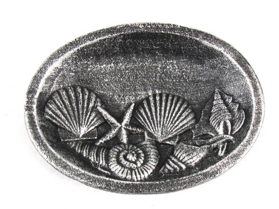 "Antique Silver Cast Iron Decorative Seashell Bowl 8"" Seashell Home Decor Sea Theme Decoration by Hampton Nautical"