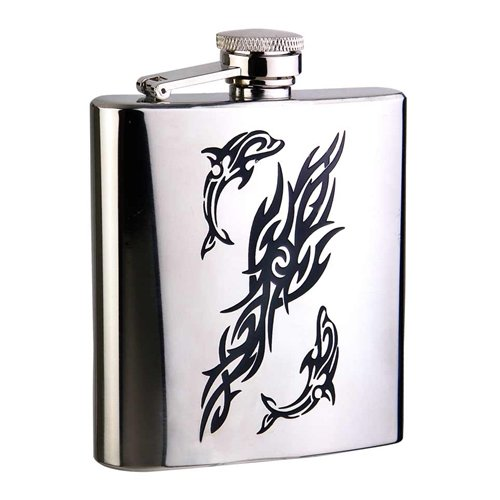 Visol Products Dolphin Mirror Stainless Steel Hip Flask
