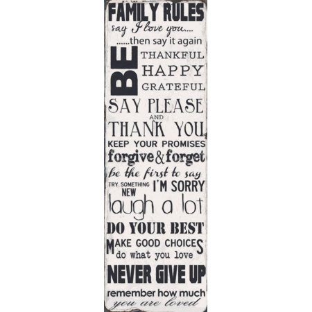 Family Rules Art Print By Taylor Greene - 6x18