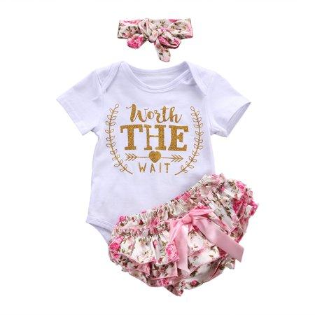 e7dad818ef2e Infant Baby Girl Short Sleeve Heart Arrow Romper Multi-Layered Ruffle  Bottoms Headband Valentine s Day Clothes - Walmart.com
