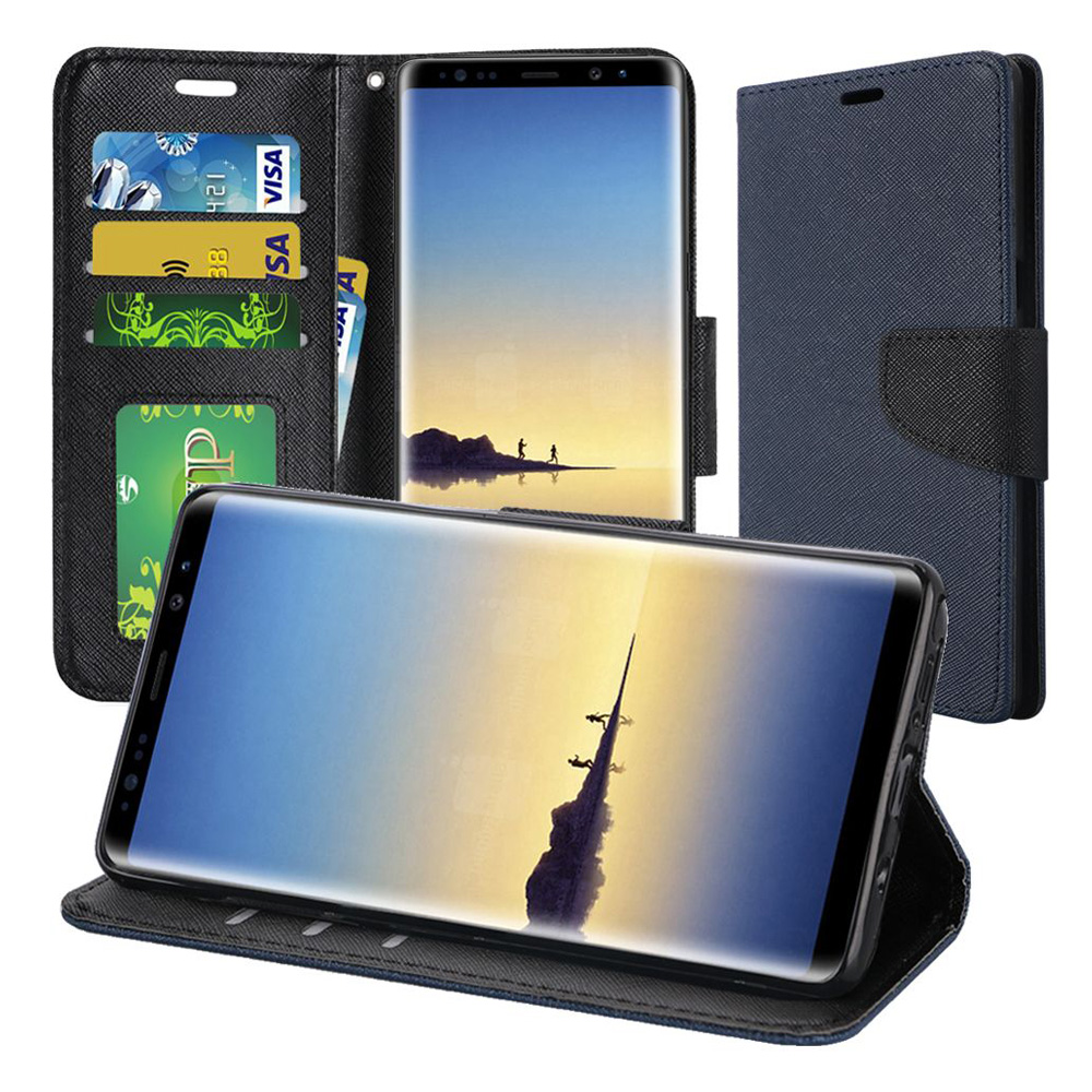 Samsung Galaxy Note 8 Case, Premium Stylish Wallet Flip Pouch Stand Cover Case Protective Hard Back Cover (Anti Scratch, Dustproof, Impactproof) For Samsung Galaxy Note 8 SM-N950U - Blue