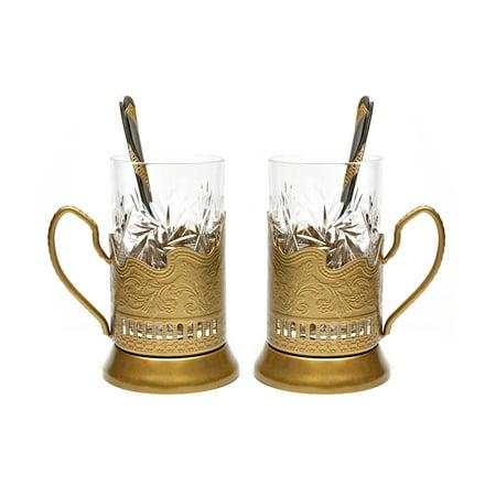 GOLD Set of 2 Russian Vintage Crystal Tea Glass & Handmade Holder