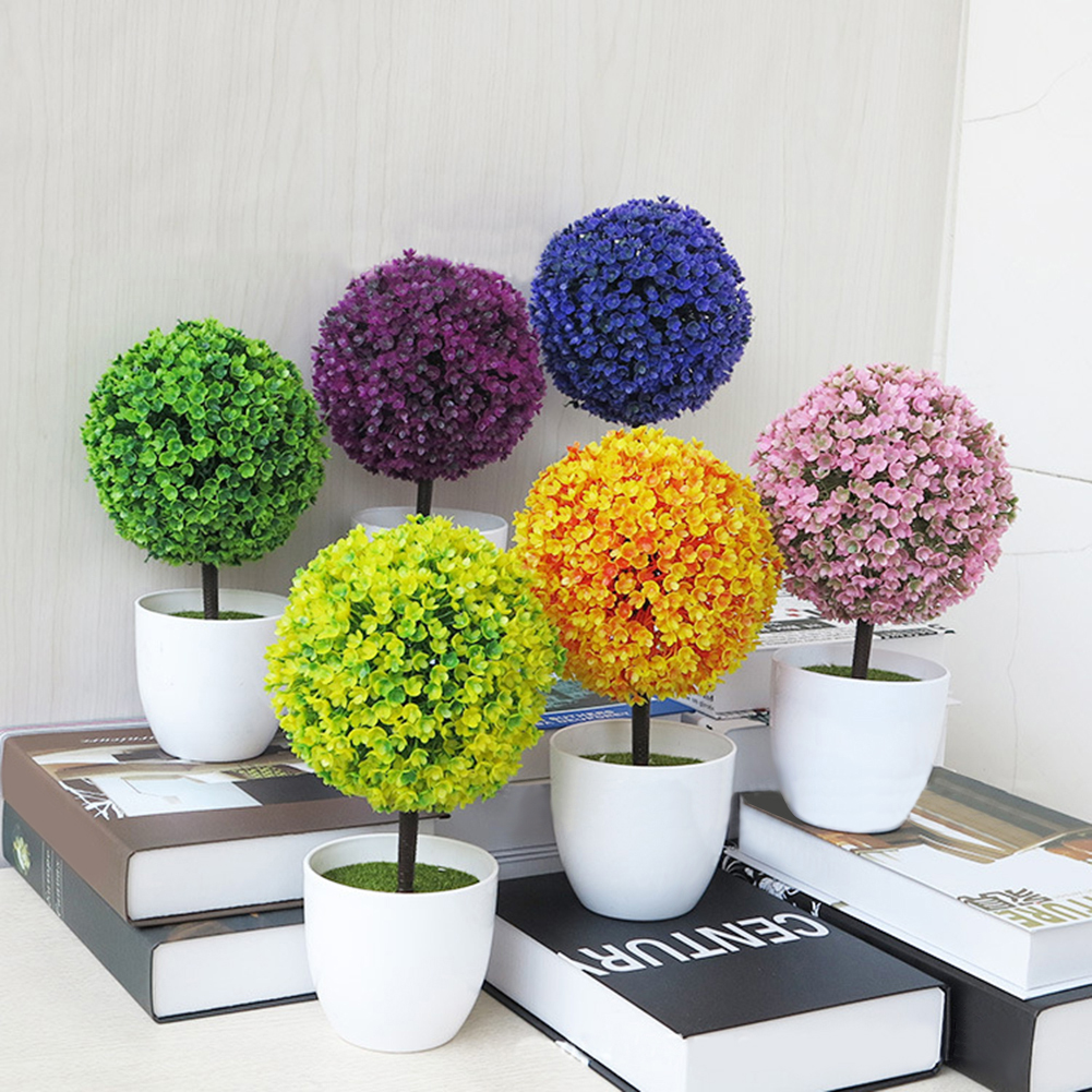HiCoup Artificial Potted Ornament Topiary Ball Shape Bonsai Fake Plant Home Decoration