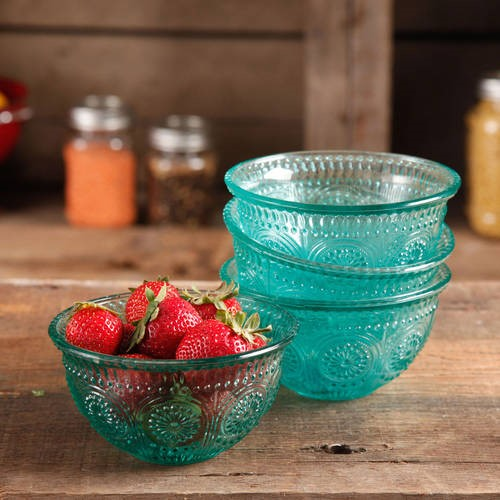 The Pioneer Woman Adeline 4-Piece 13 oz Emboss Glass Bowl