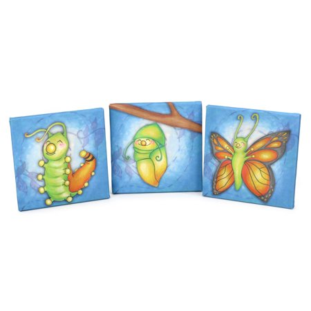Childrens Caterpillar to Butterfly Growing Kids Collection Series Canvas Print Wall Art - Set of 3