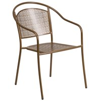 Flash Furniture Indoor-Outdoor Steel Patio Arm Chair with Round Back, Multiple Colors