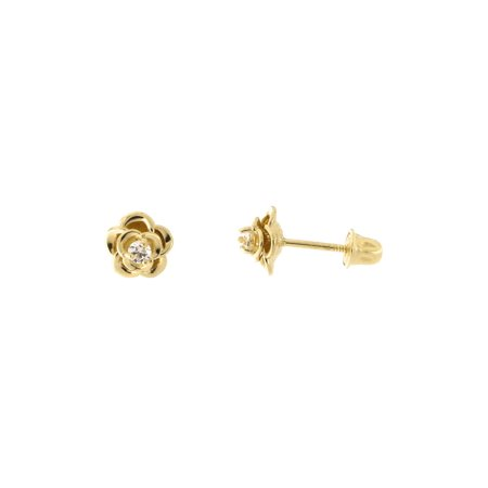 14k Yellow Gold Clear Cubic Zirconia Rose Flower Child Safe Back Stud Earrings