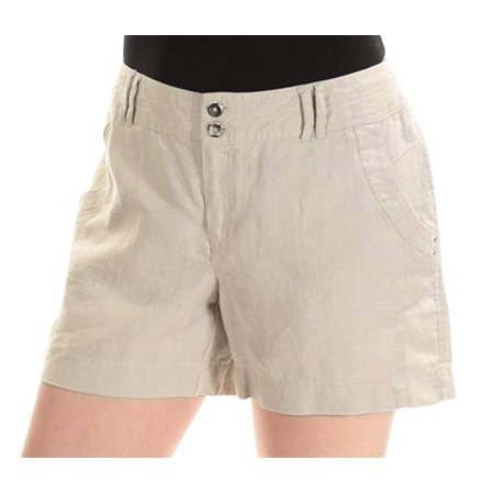 INC International Concepts Linen Curvy-Fit Shorts Toad Beige