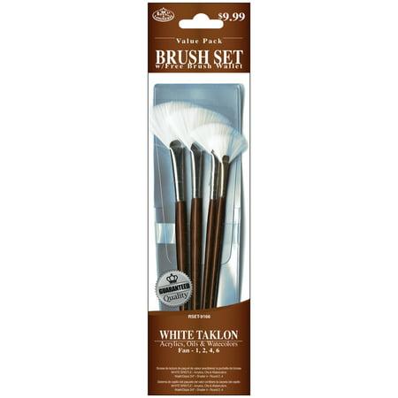 Taklon Wash Brush (Royal Brush Brush Set Value Pack, White Taklon, 4-Pack, Fan )