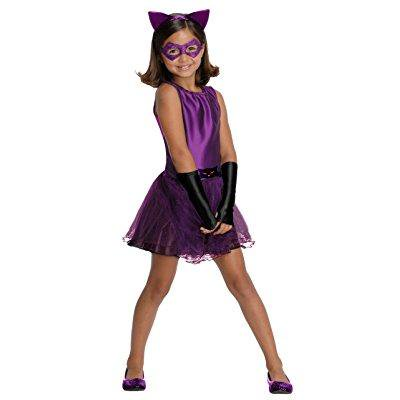 dc super villain collection catwoman girl's costume with tutu dress, small - Superheroes And Villains Costumes
