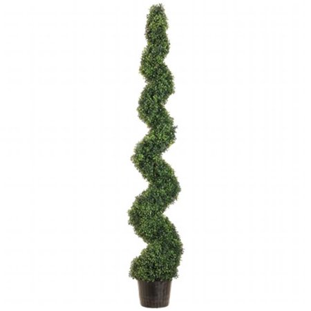 Allstate Floral LPB716-GR 6 ft.  Knock-Down Pond Boxwood Spiral Topiary in Plastic Pot Green (Spiral Down Hugger)