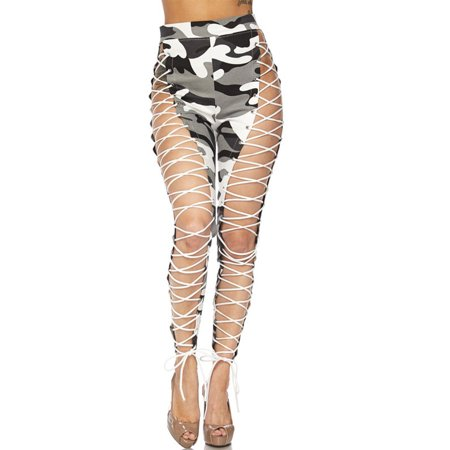 cef88d7f3fd98 Genx - Womens Camouflage Military Look Exotic Front Strappy Camo Lace up  Leggings Pants HDP21390-S-City Camo - Walmart.com