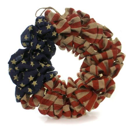 Patriotic AMERICAN FLAG WREATH Fabric Burlap Stars Stripes USA