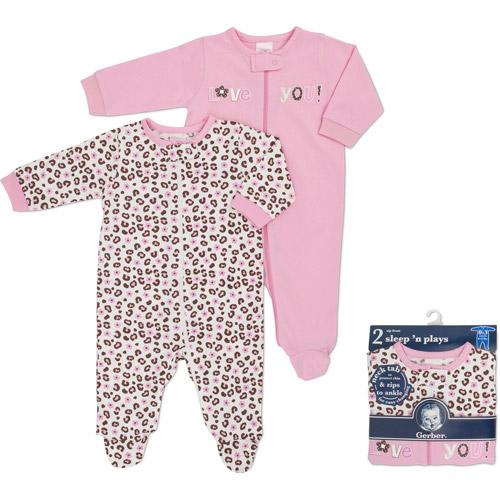 Gerber Geber Newborn Girls' 2-pack Sleep N Play