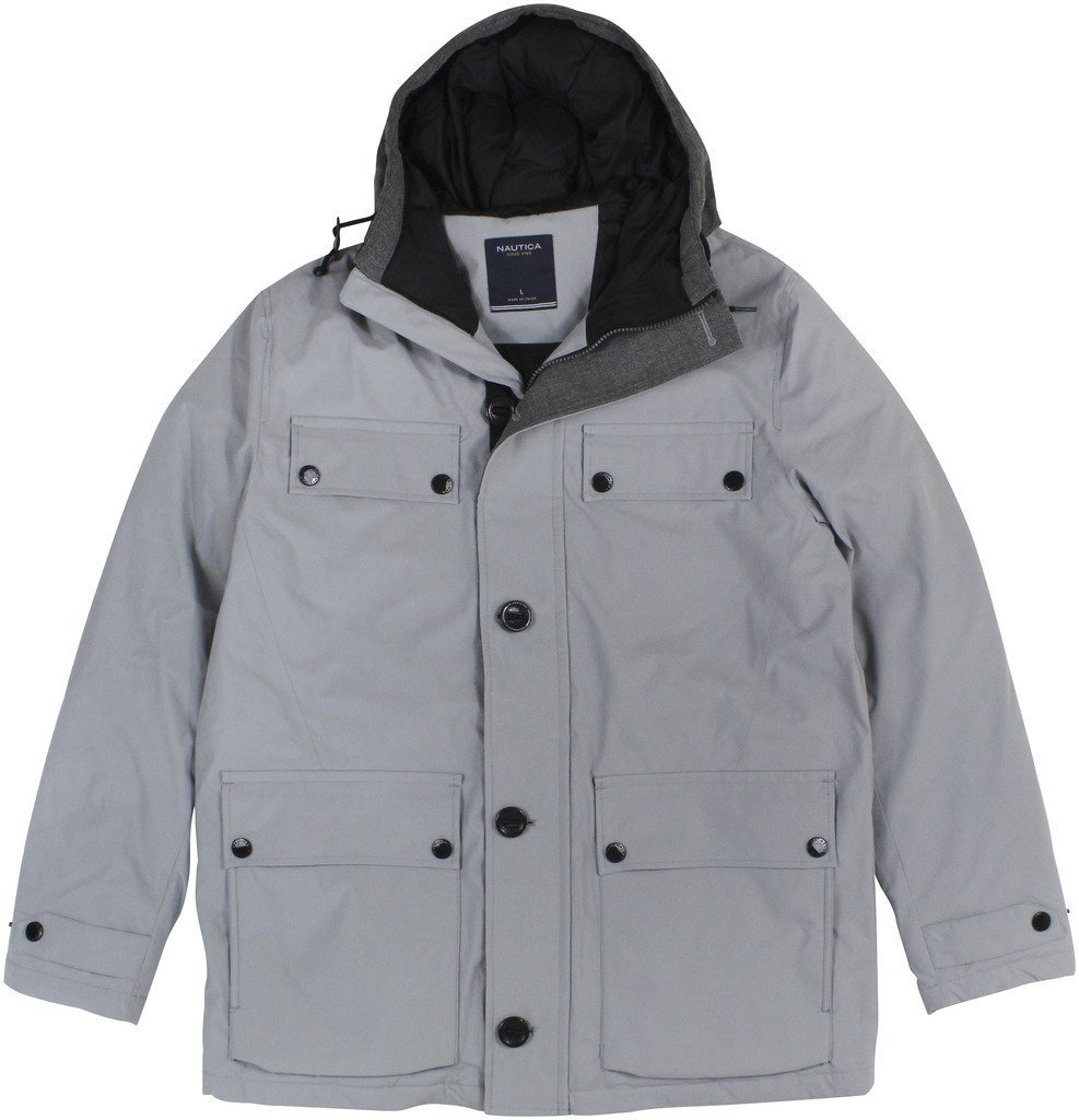 Nautica NEW Gray Radial Mens Size XL Parka Hooded Button-Down Jacket