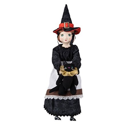 Sarah Witch Girl and Black Cat Doll Figurine by Joe Spencer Gathered Traditions Halloween - Joe Spencer Halloween Dolls