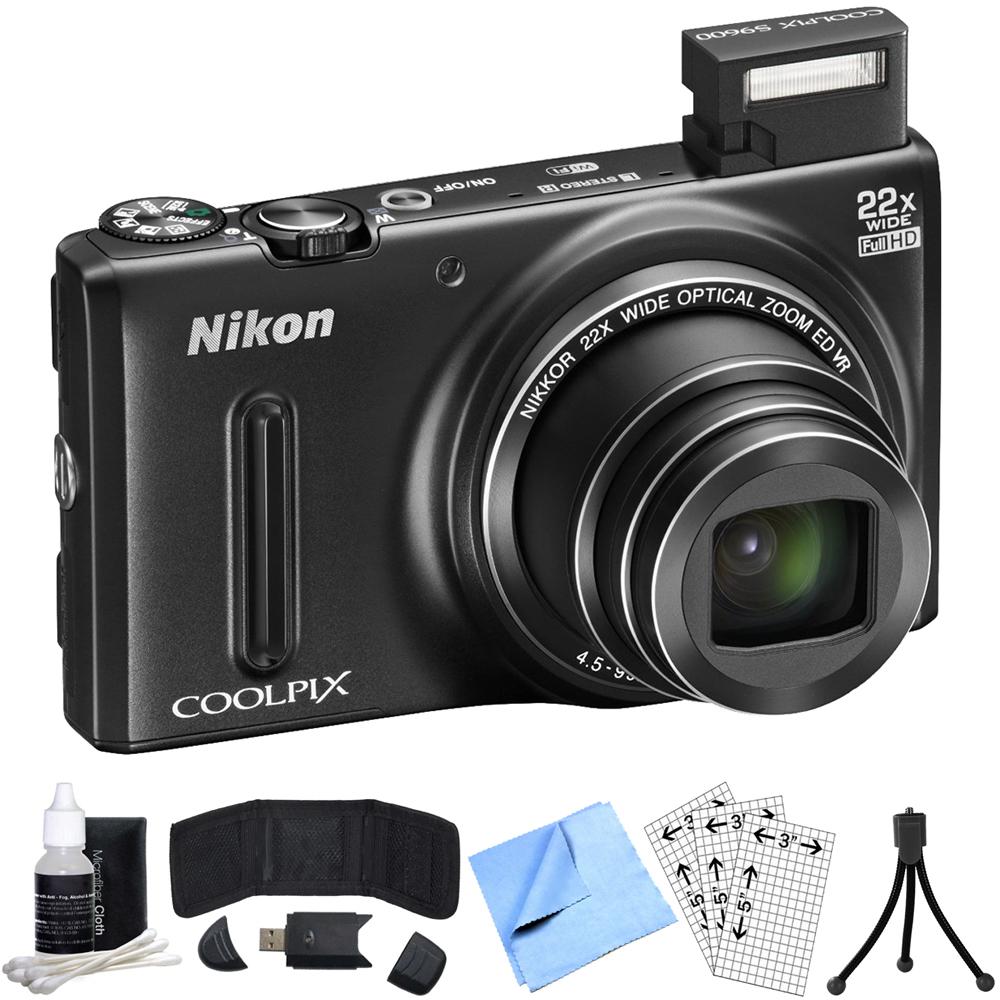 Nikon COOLPIX S9600 16MP Digital Camera (Black) Refurbished Bundle includes COOLPIX S9600, Card Reader, Mini Tripod, Screen Protectors, Cleaning Kit, Memory Card Wallet and  Beach Camera Cloth