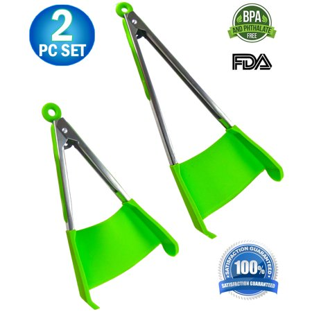 2pc - Spatula & Tongs 2-in-1 Combo Non-stick Heat Resistant with Locking Clip, Kitchen Tool Helper Dishwasher Safe BPA Free - Multi Purpose Food Cooking & Serving Utensil Green (Large & Small)