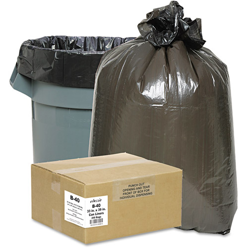 Classic Clear Opaque Brown/Black Low-Density Can Liners, 31-33 gal, 250 ct