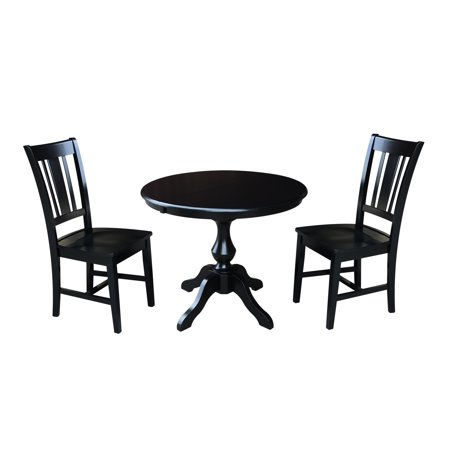 36 Round Dining Table With 12 Leaf And 2 San Remo Chairs Black