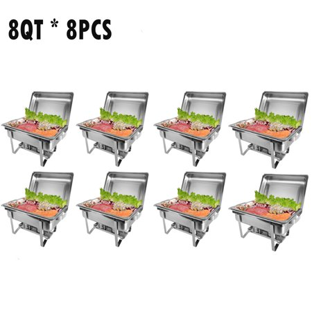 Zimtown 8 Quart 8pcs Chafing Dish Buffet Catering Stainless Steel Rectangular Chafer Furnace