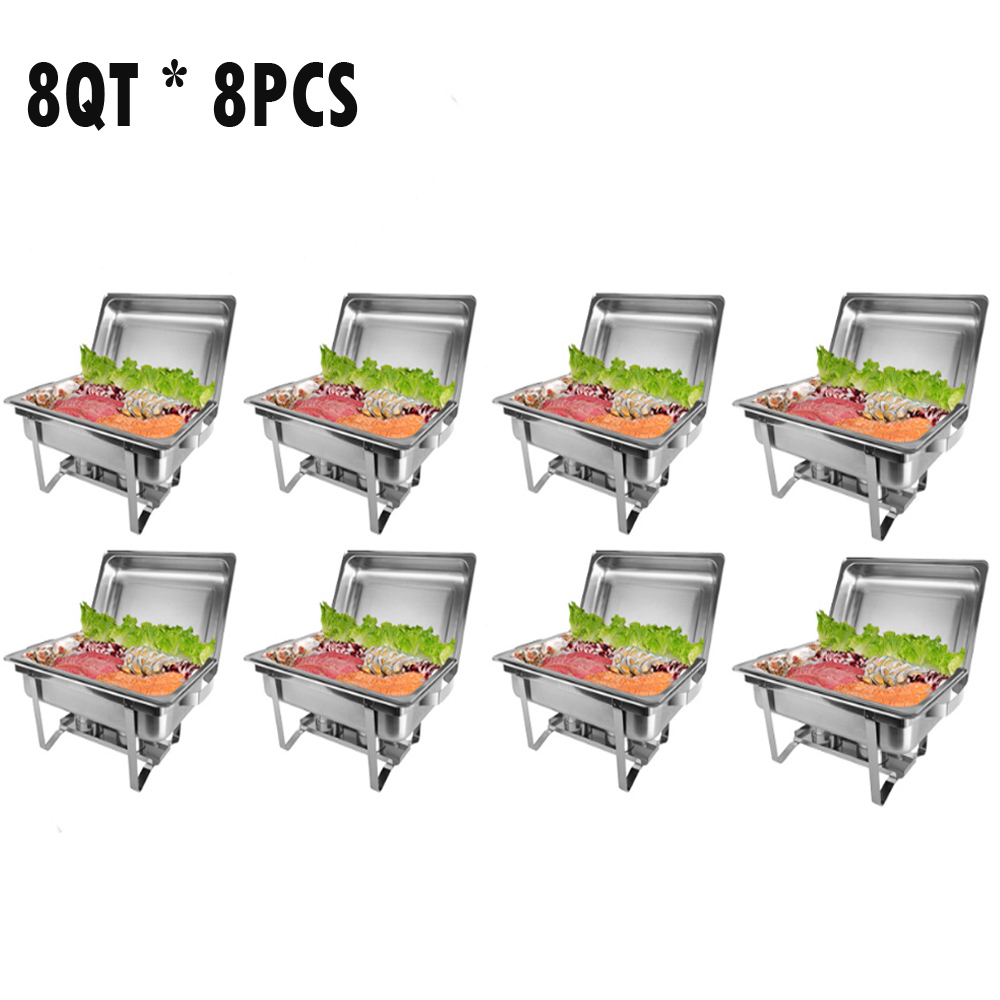 Zimtown 8 Quart 8pcs Chafing Dish Buffet Catering ,Stainless Steel Rectangular Buffet Chafer Furnace