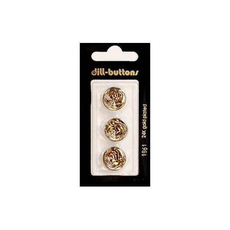 Antique Blazer Buttons (Dill Buttons 15mm 3pc Shank Metal Antique Gold )