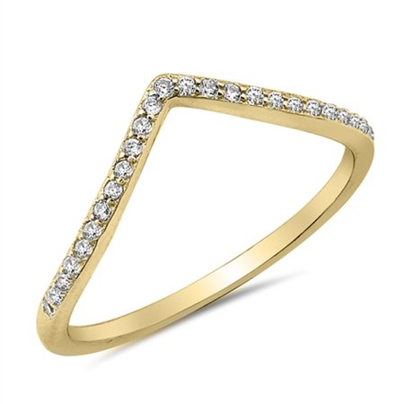 Stackable Sterling Silver Band - CHOOSE YOUR COLOR Clear CZ Yellow Gold-Tone Chevron Stackable Ring Sterling Silver Band