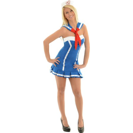 Sexy Sailor Dress Naval Uniform Navy Military Costume Blue Mini Dress Sizes: X-Large